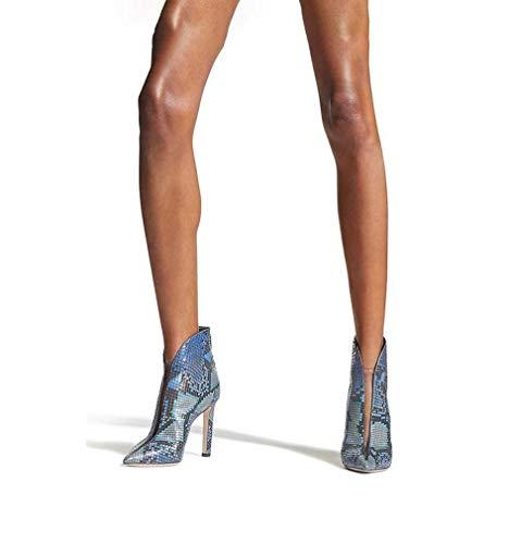 GHFJDO Damen Punk Blue Snake Drucken Spitze Beine Füße Stiefel,Stiefeletten,Plattform Stiletto-Absatz Party Schuhe,Blue,37EU Snake Stiletto