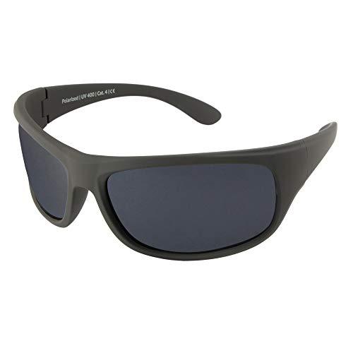 EREBOS Sonnenbrille polarisiert | Cat. 4 besonders dunkel | UV 400 Schutz | Für Extreme Sonne - Berge und Meer | Photophobie | Herren Damen Sport-Sonnenbrille | 24 g (Schwarze Gläser | Graue Tönung)