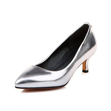 XIAMUO Anpassbare Damen Tanz Schuhe Kunstleder Kunstleder Latin Heels niedrigem Absatz Praxis Anfänger Performance Lila Rot Silber Gold Silber