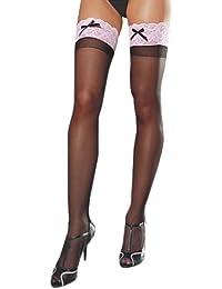 Piernas conseguidos de ella es Dreamgirl mujeres medias hasta el muslo, Negro / Rojo, un tamaño