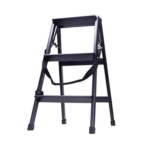 Dsrgwe Trittleiter klappbar, 3 Stufen Doppelseitige Trittleiter aus Aluminium, hochklappbar, Typ A, Haushalts-Stepper mit Antirutschmatte