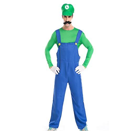 FHTD Halloween Kostüm Karneval Erwachsene Cosplay Klempner Companion Kostümfest Set,Green,XL