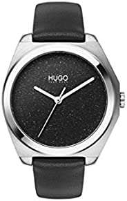 Hugo Boss Women'S Black Dial Black Leather Watch - 154