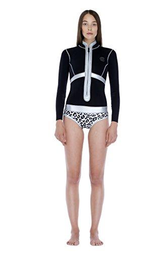 glidesoul Damen 1mm vorne Reißverschluss Spring Suit M schwarz - Black/Leopard/Silver