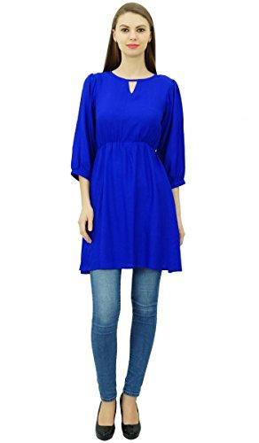 Phagun Frauen Tunika-Oberkurz Kurti elastische Taillen-Indian Ethnic Bluse Blau