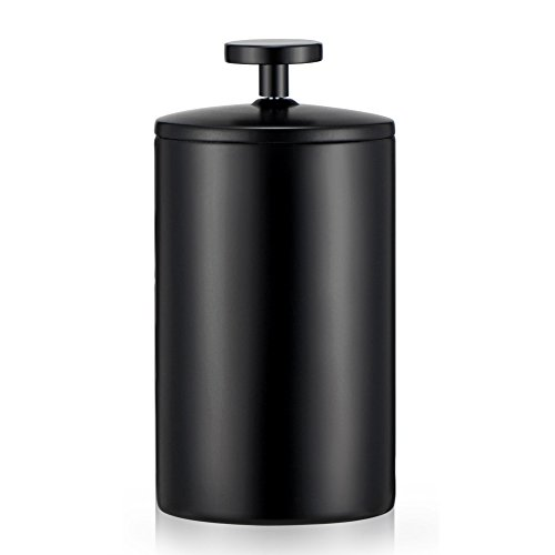 Uong Manuelle Milchaufschäumer, 200ML Edelstahl Double Mesh Pumpe Milch Kaffeeaufschäumer Milch Milchkännchen Milchschaum (Schwarz)