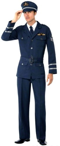 Mädchen Pilot Kostüm (erdbeer-clown - Herren Piloten Uniform Kostüm- Hose Jacke Oberteil Hut, dunkelblau marine,)