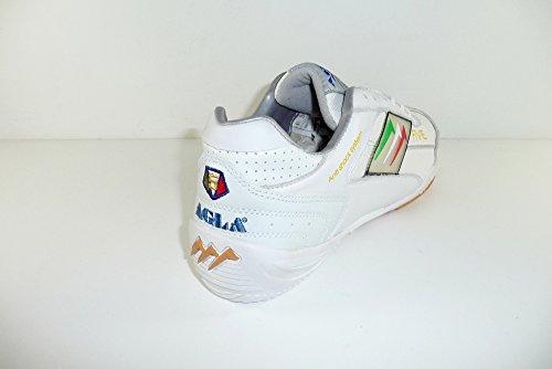 AGLA PROFESSIONAL FIVE INDOOR WHITE/WHITE scarpe calcetto pelle/tela con anti-shock system WHITE