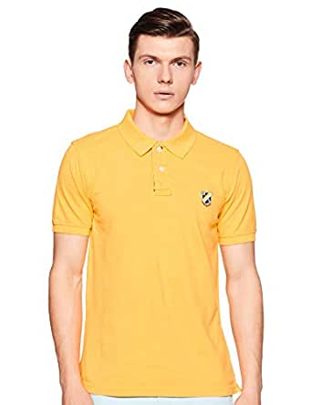 Amazon Brand - House & Shields Men's Solid Regular fit Polo (SS19-HSK-19_Ray Yellow_S)