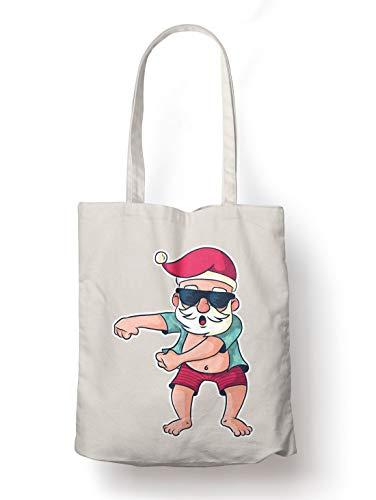 BLAK TEE Funny Santa Floss on Summer Holiday Organic Cotton Reusable Shopping Bag Natural