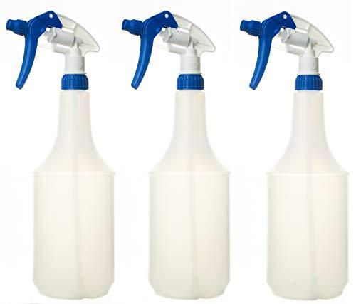 3 Stück Sprühflasche leer 1 Liter Chemie Beständig (nicht für Säure, Silikonhaltige oder Lösemittel) mit Canyon trigger sprayer CHS 3A Sprühkopf Star -