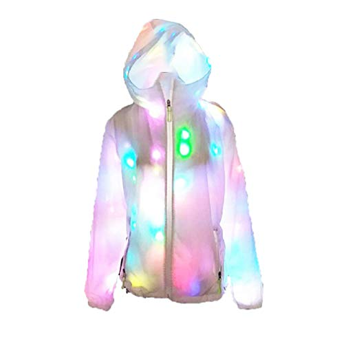 JTIHGNFG JTIH® LED-Beleuchtung, farbenfrohe Leuchtjacke, LED-Leuchthosen, Party-Casual-Tops, farbige Leuchthosen, Nachtclubbar (Hats Top Farbige)