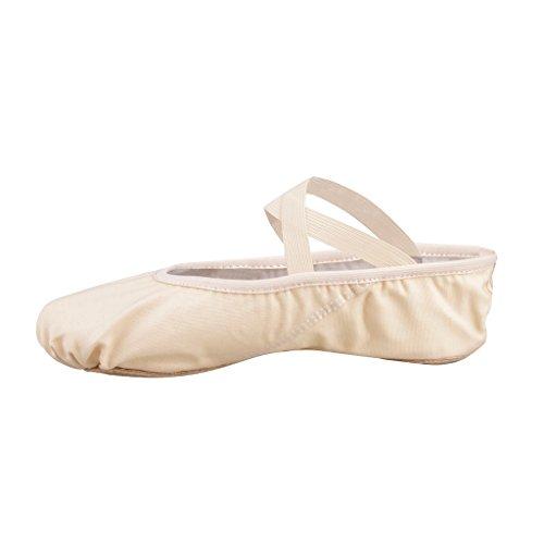 Scarpe danza classica tela morbido scarpe da ballo scarpette da danza con suola diviso in pelle ginnastica ballo pantofole per le ragazze delle signore (scelga prego una taglia più)(rosa, 29=lunghezza interna:185mm)