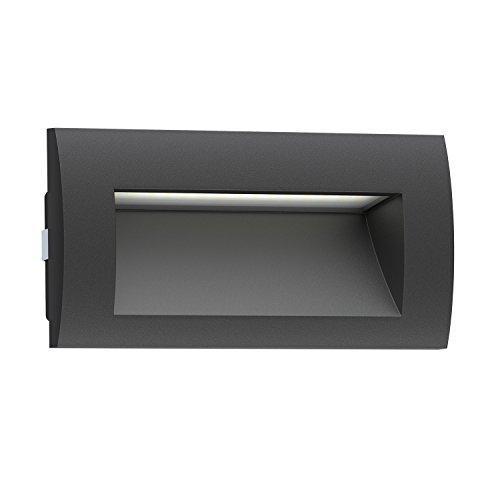 ledscom.de LED lámpara empotrable en la Pared Zibal para el Exterior, Negro,...