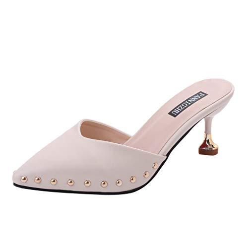 OrchidAmor Spitzer Einzelschuhe Damen Sandalen Mode Stiletto Hausschuhe Damen Nieten Schuhe 2019, Beige (beige), 39 EU Bandolino Heels