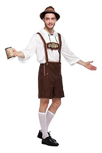 Aeromdale Herren Oktoberfest Kostüme Lederhosen Bayerischer Typ Deutsches Traditionelles Bier Herren Halloween Cosplay Festival Kostüm - XL - 1 - Deutsches Bier Festival Kostüm