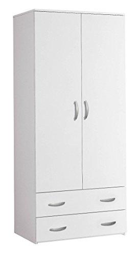 Klipick armadio 2 ante + 2 cass. h 175 guardaroba arredo colore bianco oriana