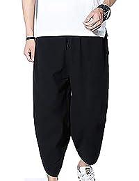 Battercake El Harem De Los Hombres Ligera De Bloomers Los del Hippie  Pantalones Cómodo Entrepierna Mucha Ocio Color Sólido Pantalones… 9cefbbab8ca