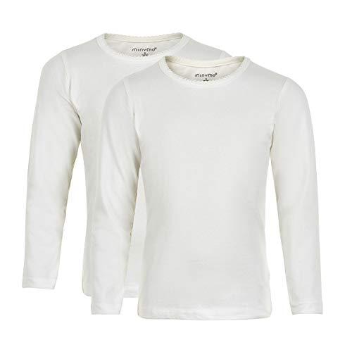 MINYMO 2er Pack Baby Mädchen T-Shirt, Langarm, Alter ab 2 Jahren, Größe: 92, Farbe: Weiß, 3935