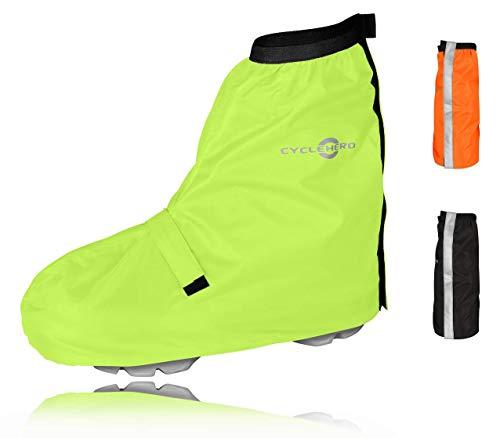CYCLEHERO Überschuhe Fahrrad (Gelb, 44-46) Regenüberschuh wasserdicht inkl. Reflektor-Streifen, Größenregulierung und Stabiler Lauffläche für Herren und Damen - Regengamaschen Outdoor Unisex
