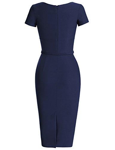 MUXXN 1950 Retro Vestiti Abiti Donna Eleganti Vestiti Anni 50 Vestiti Donna Eleganti da Cerimonia Deep Blue