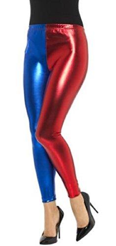 Girl Kostüm Harley Quinn - Crazy Girls Verrückte Mädchen Frauen Damen Metallic Glänzend Glanz Squad Kostüm Wet Look Leggings (M/L-EU40/42, Red/Blue)