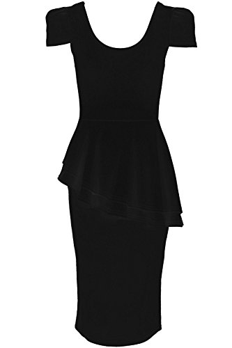 FANTASIA BOUTIQUE Damen eng anliegendes Partykleid U-Ausschnitt Flügelärmel Asymmetrisch seitlich abfallend Schwarz