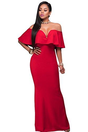 COSIVIA Damen Rüsche aus Schulter V-Ausschnitt Maxi Partykleid Langes Abendkleid Cocktailkleid Rot