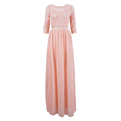 SODIAL(R) Chiffon Spitze Brautkleid Ballkleid Abendkleid Hochzeitskleid Rosa S