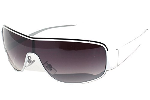 5747a914c8880b Tedd Haze Lunettes de soleil - Style années 80 - Verres fumés - Blanc
