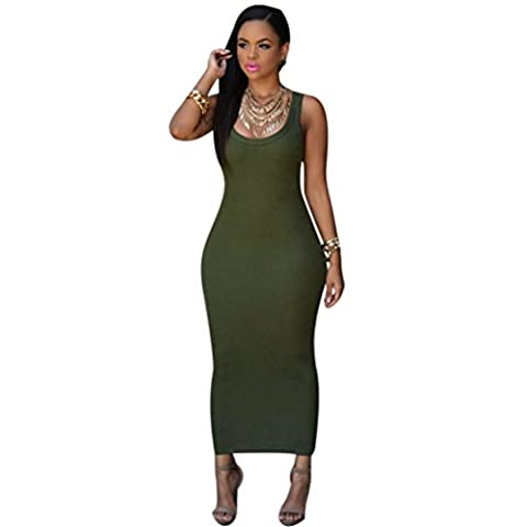 Bovake Frauen Sommer Bandage Bodycon Party Cocktail Maxi langes Kleid (S, Army Green)