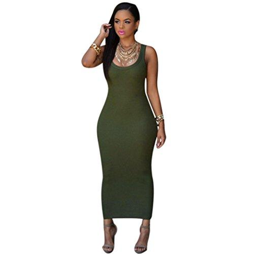 Bovake Frauen Sommer Bandage Bodycon Party Cocktail Maxi langes Kleid (S, Army Green) (Kind Schwarz Pailletten Flapper Kostüme)