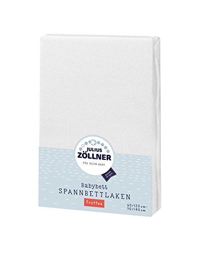Julius Zöllner 8300113100 - Spannbetttuch Frottee für Kinderbett, Größe: 60x120 cm / 70x140 cm, Farbe: weiß
