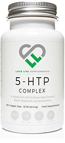 Love Life Supplements 5-HTP-Komplex | 100mg, einschließlich 200mg Reishi-Pilz und 200 mg Schisandra-Beere | 60 vegetarische Kapseln | Für Stressabbau/Schlaf -