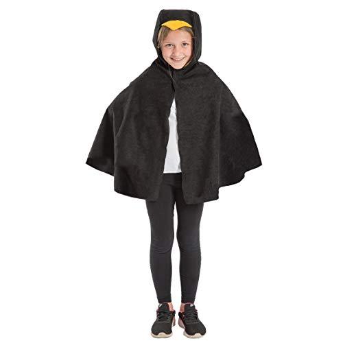 Junge Vogel Kostüm - Unbekannt Charlie Crow Schwarz Vogel umhang Kostüm für Kinder - Einheitsgröße 3-8 Jahre.