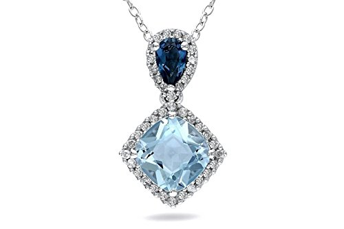 NEVI Simple Square Fashion 92.5 Sterling Silver Zirconia Rhodium Plated Princess  Pendant Chain Jewellery for Women & Girls (Blue)