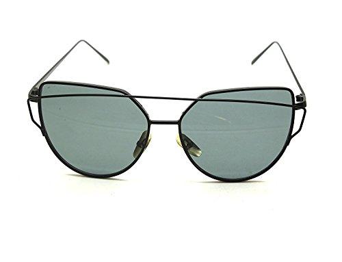 Arbeiten Sie Frauen Katzenaugen Sonnenbrille Klassische Marken Designer Twin Beams Sonnenbrille Dame Beschichtung Spiegel Flat Panel Objektiv Gläser (Schwarzer Rahmen / Grau Linse)