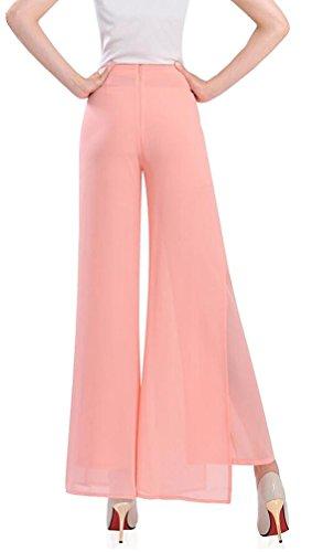 Brinny Chiffon Casual Hosenrock Damen Lang elegant Palazzo Hosen Wide Leg Pants Lagenlook Hosen Lagen Hose Pink 2