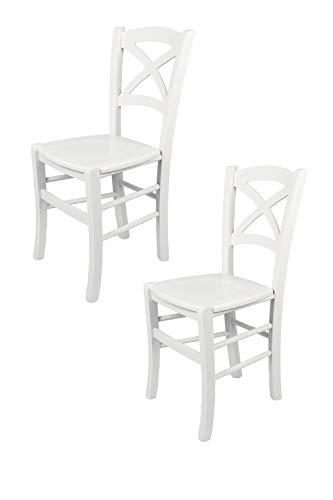 Weiße Holz-küche-stuhl (Tommychairs - 2er Set Stühle Cross für Küche und Esszimmer robuste Struktur aus lackiertem Buchenholz im Farbton Weiss und Sitzfläche aus lackiertem Holz in der Farbe Weiss)