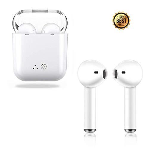 Auriculares inalámbricos Bluetooth, auriculares estéreo con micrófono de supresión de ruido, auriculares integrados, auriculares inalámbricos para iOS Airpods Android iPhone