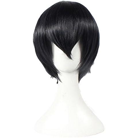 Moda pelucas de Cosplay naturales Cosplay pelucas mixtos voleibol juvenil macho negro sombra de montaña vuelo azul profundo