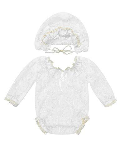 Weiß Prinzessin Kostüm - Tiaobug Baby Body Mädchen Strampler Spitzen Overall Jumpsuit mit Mütze Prinzessin Kostüm Party Geburtstag Outfits Requisiten Fotografie Bekleidung Weiß Langarm One Size