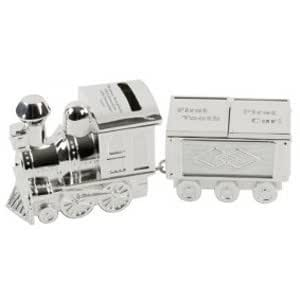 Engraved Steam Train Money Box Keepsake Gift with Tooth and Curl Carriage, Personalised Christening Idea