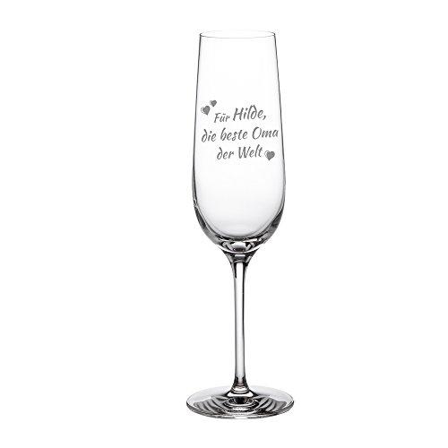 """AMAVEL – Sektglas mit Gravur – """"Beste Oma"""" – Personalisiert mit [Namen] – Sektkelch – Sektflöte als Geschenkidee für Großmutter – Muttertagsgeschenke – Geburtstagsgeschenke – Füllmenge: 0,2 l"""
