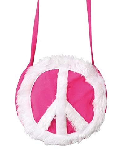 ie Schulter-Tasche mit Peace-Zeichen 70er Jahre Flower Power Woodstock Handtasche, Farbe:Pink ()