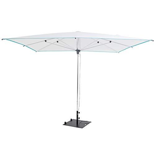 SORARA Sonnenschirm Parasol | Weiß | 300 x 300 cm / 3 x 3m | Viereckig/Quadratisch Paris | Polyester 300 g/m² (UV 50+)| Push Up Mechanismus | Mastdurchmesser Ø 38 mm (excl. Base)