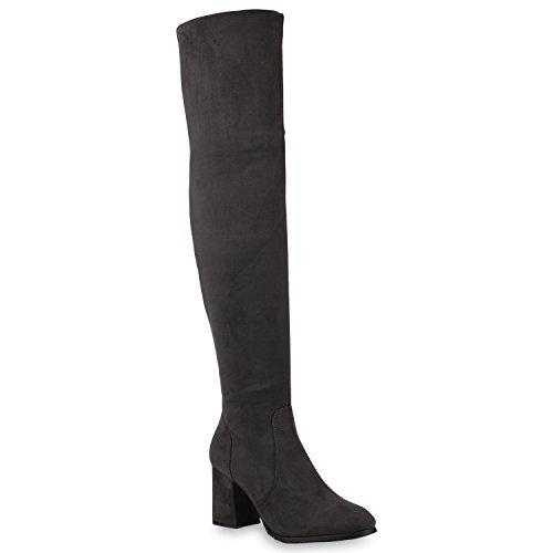 Stiefelparadies Damen Klassische Stiefel Overknees Wildleder-Optik Schuhe Gefüttert 147018 Grau Basic 36 Flandell