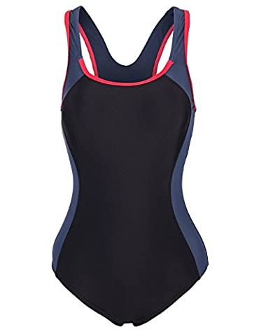 Aidonger Damen Verbindung Farben Badeanzug Knalliger Farbe Schwimmanzug EU36-EU50