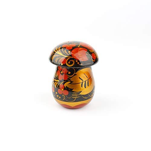 Hölzerner Salzstreuer-Pilz handgemacht in Russland traditionelles Geschirr leer oder Vintage Retro Classic Hohloma gemalt sowjetischen Volkskunst Geschenk natürliche Holz lackiert (Khokhloma)