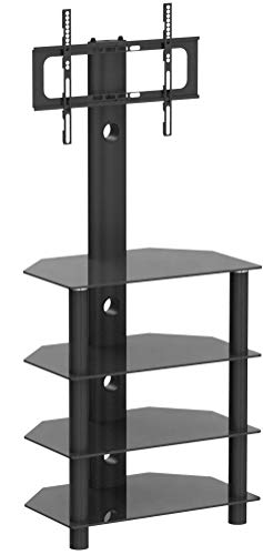 RFIVER Meuble TV Multimédia Support Pivotant Hauteur Réglable pour TVs Ecrans LCD LED DE 32 à 55 Pouces Etagère HiFi pour Ranger AV Equipement TW1004